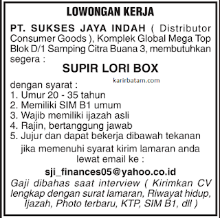 Lowongan Kerja PT. Sukses Jaya Indah (November 2018)
