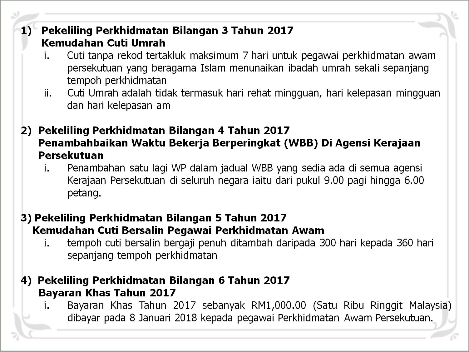 Pekeliling Yang Berkuatkuasa 1 Januari 2018