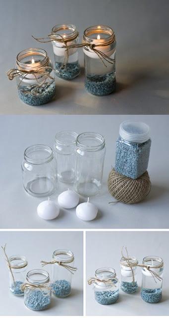 centro de mesa navidad creado con tarros de cristal reciclados