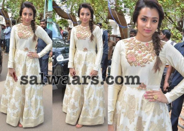 Trisha Off White Benaras Floral Salwar