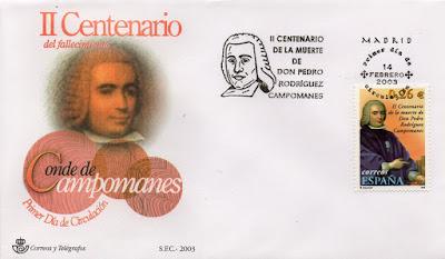 Sobre PDC del sello de Campomanes. Matasellos de Madrid