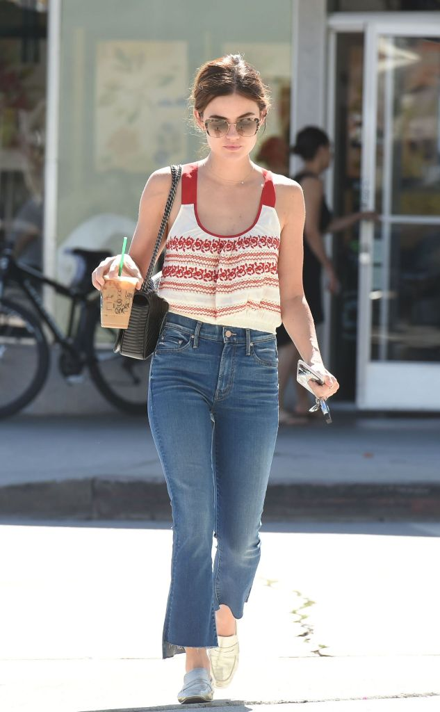 Lucy Hale street fashion style stopping by starbucks in Los Angeles