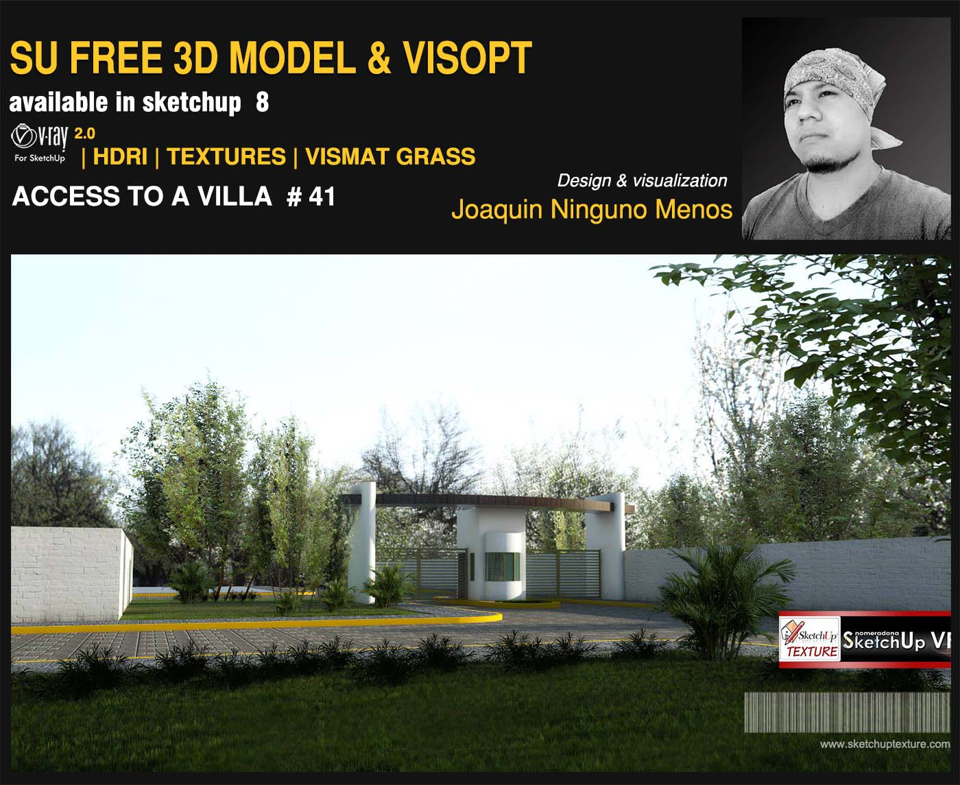 free sketchup model access to a villa #41 and vray Visopt