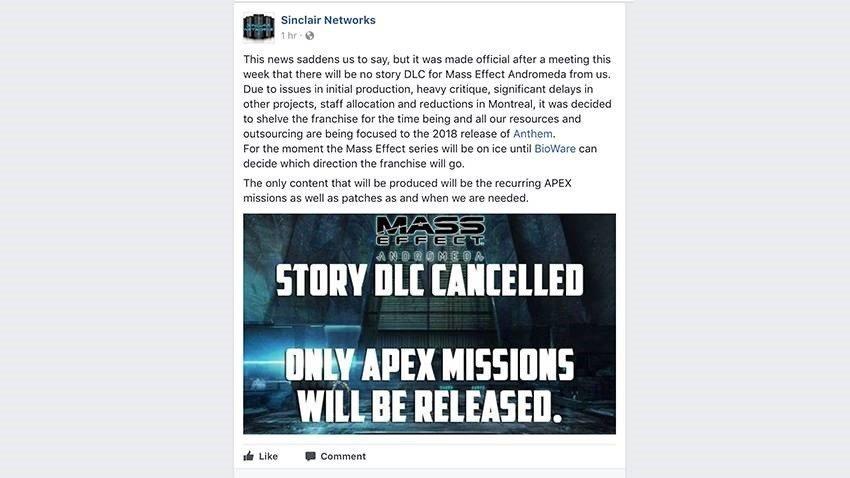 Se podrían haber cancelado los DLCs de Mass Effect Andromeda
