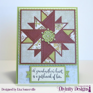 Divinity Designs Stamp Set: Grandmother's Heart, Custom Dies: Triangle Quilt, Pierced Rectangles, Double Stitched Rectangles, Scalloped Rectangles, Beverage Cup (snowflake), Large Banner, Squares, Paper Collection: Retro Christmas