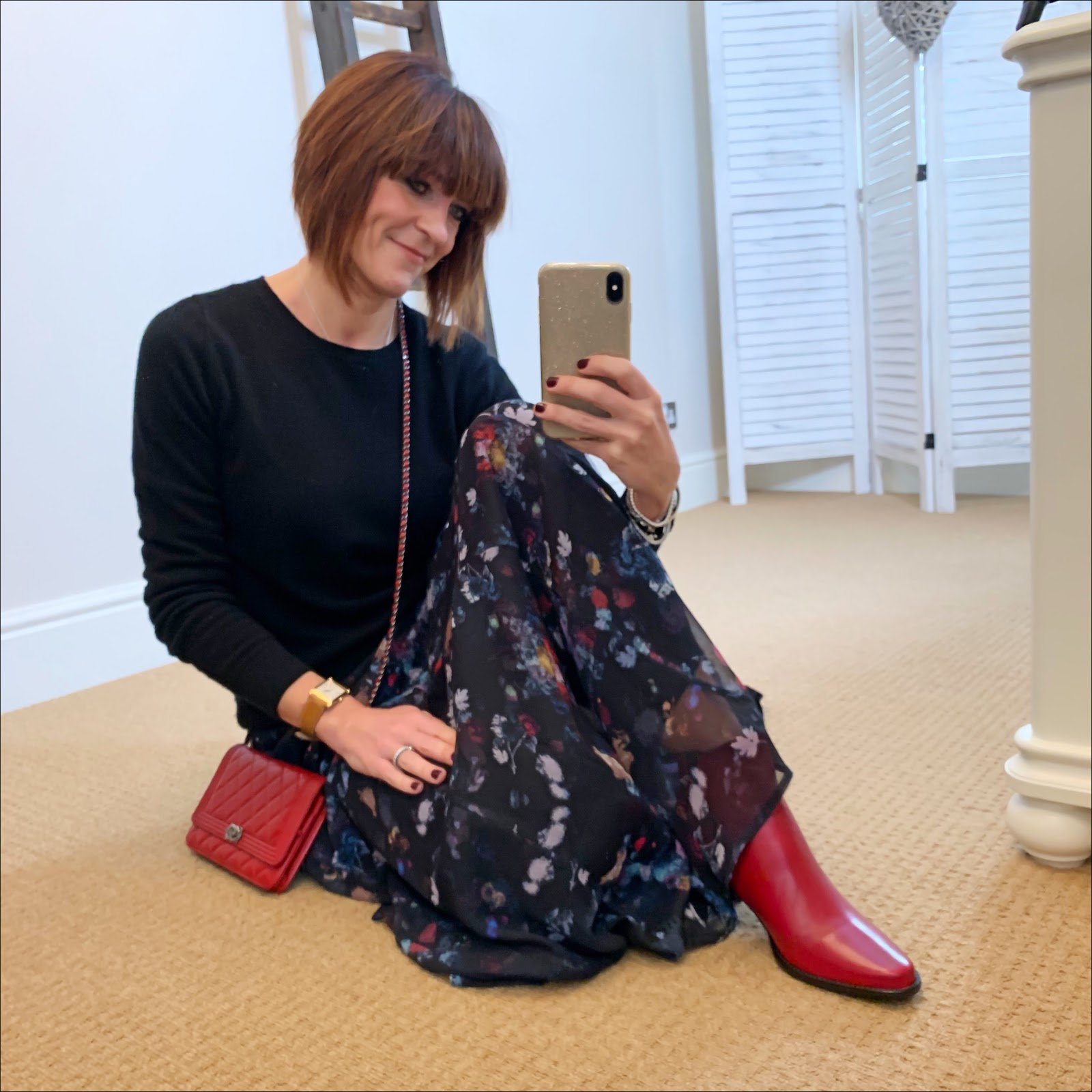 my midlife fashion, boden cashmere crew neck jumper, chanel wallet on chain, lily and lionel maxi skirt, jones bootmaker harriet leather ankle boots