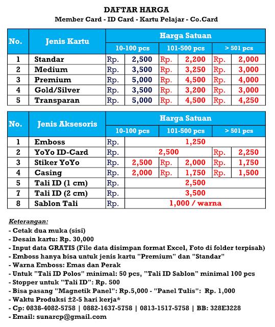 Idcard Jogja, membercard murah, Talli Idcard, Bikin Kartu Osis
