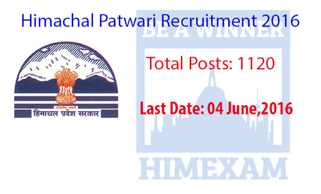 Himachal Pradesh Patwari 1120 Vacancies