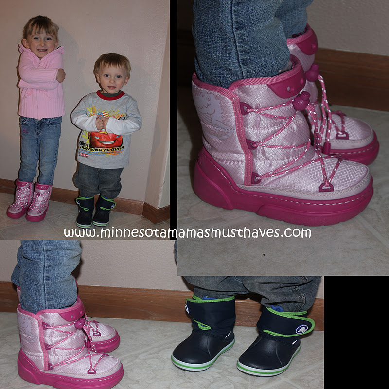 d12f48206a275 The kids got the most adorable boots ever from Crocs this year. Danika is  wearing the Kosmoboot Kids in Bubblegum pink (her favorite color!)