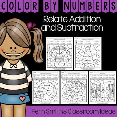 Second Grade Go Math 3.5 Relating Addition and Subtraction Color By Numbers