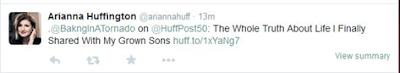 Arianna Huffington tweet  | www.BakingInATornado.com