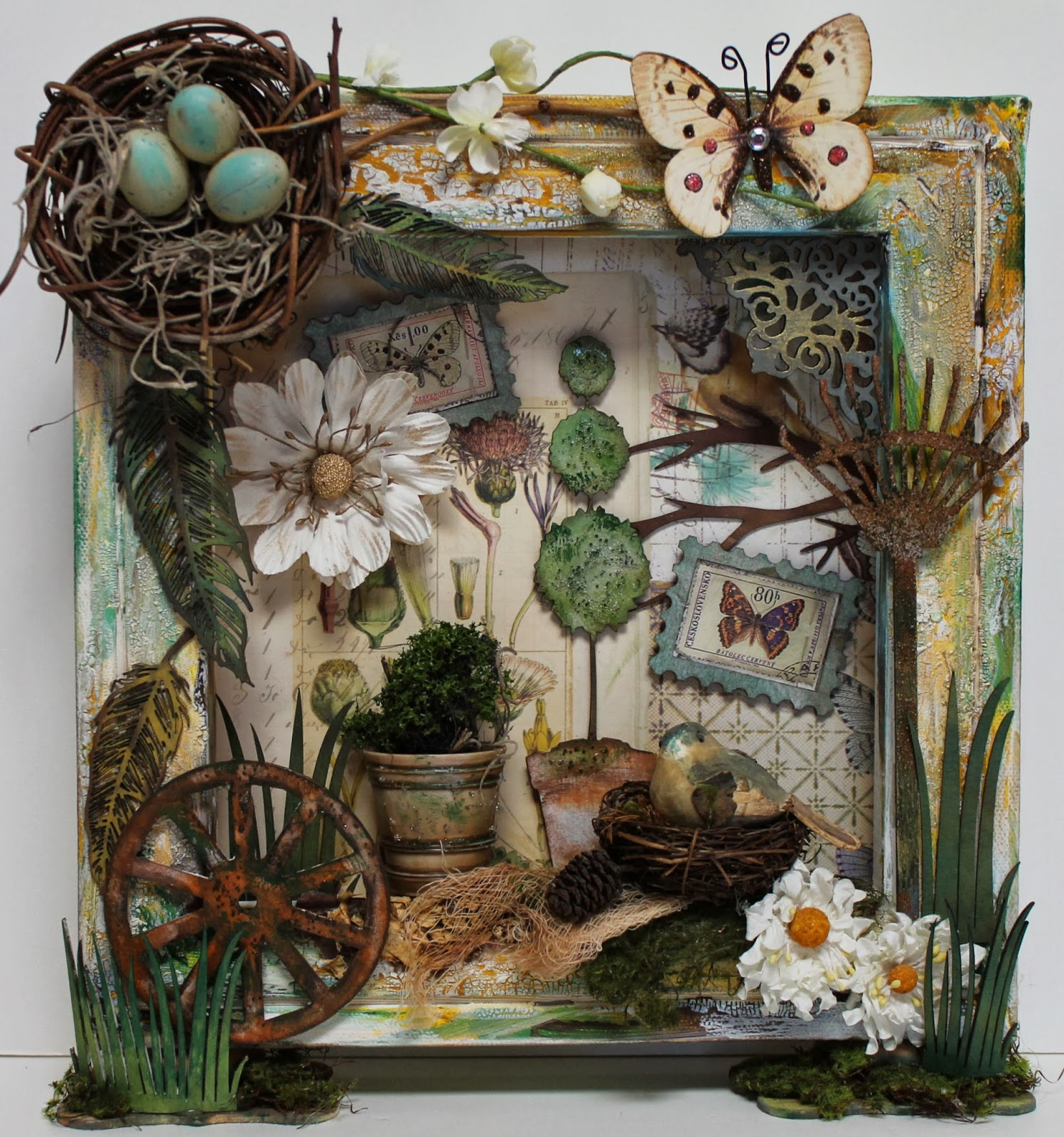 Ginas Designs Altered Canvas In A Garden Theme By Nancy And