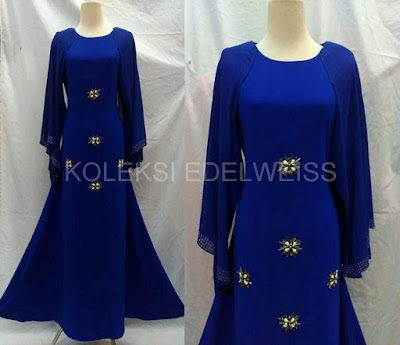 Afifah -Dress With Long Sleeve  Cape Royal Blue