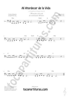 Tuba Partitura de Al Atardecer de la Vida en Clave de Fa 8ª Baja Sheet Music for  Tuba Music Scores