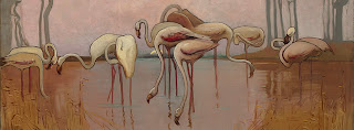 Sydney Long painting - Flamingos