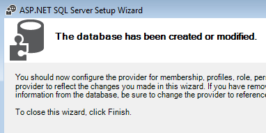 The database has been created or modified