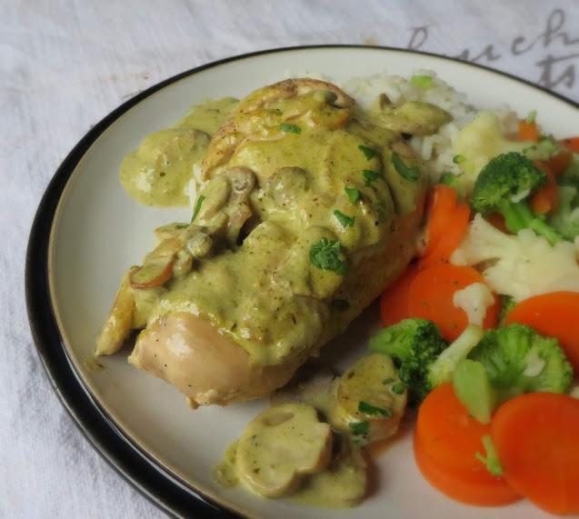 Chicken with a Pesto & Mushroom Sauce