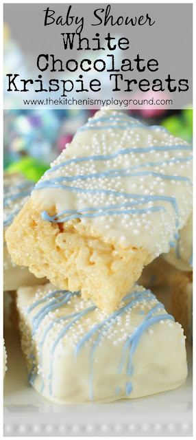 White Chocolate-Dipped Rice Krispie Treats ~ An & easy fun treat for a baby shower or ANY occasion!  www.thekitchenismyplayground.com