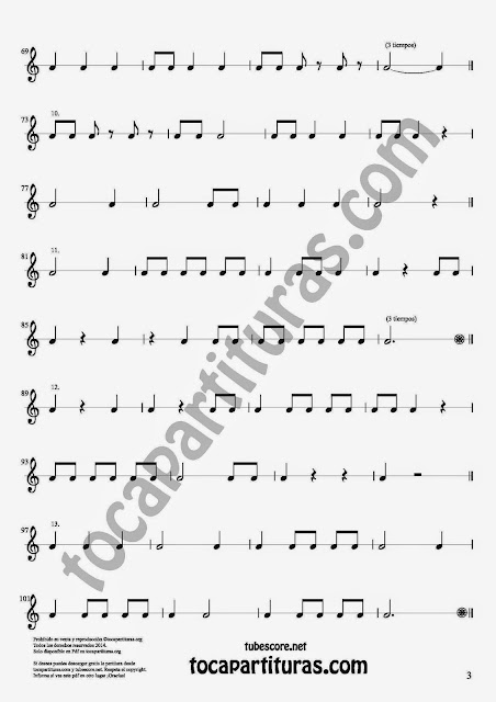 3 17 Ejercicios Rítmicos para Aprender Solfeo Negras, corcheas, blancas y sus Silencios Easy Rithm Sheet Music for quarter notes, half notes, 1/8 notes and silences