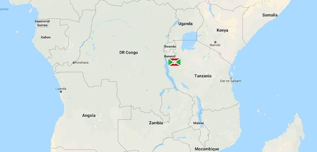 Map of Africa and Burundi