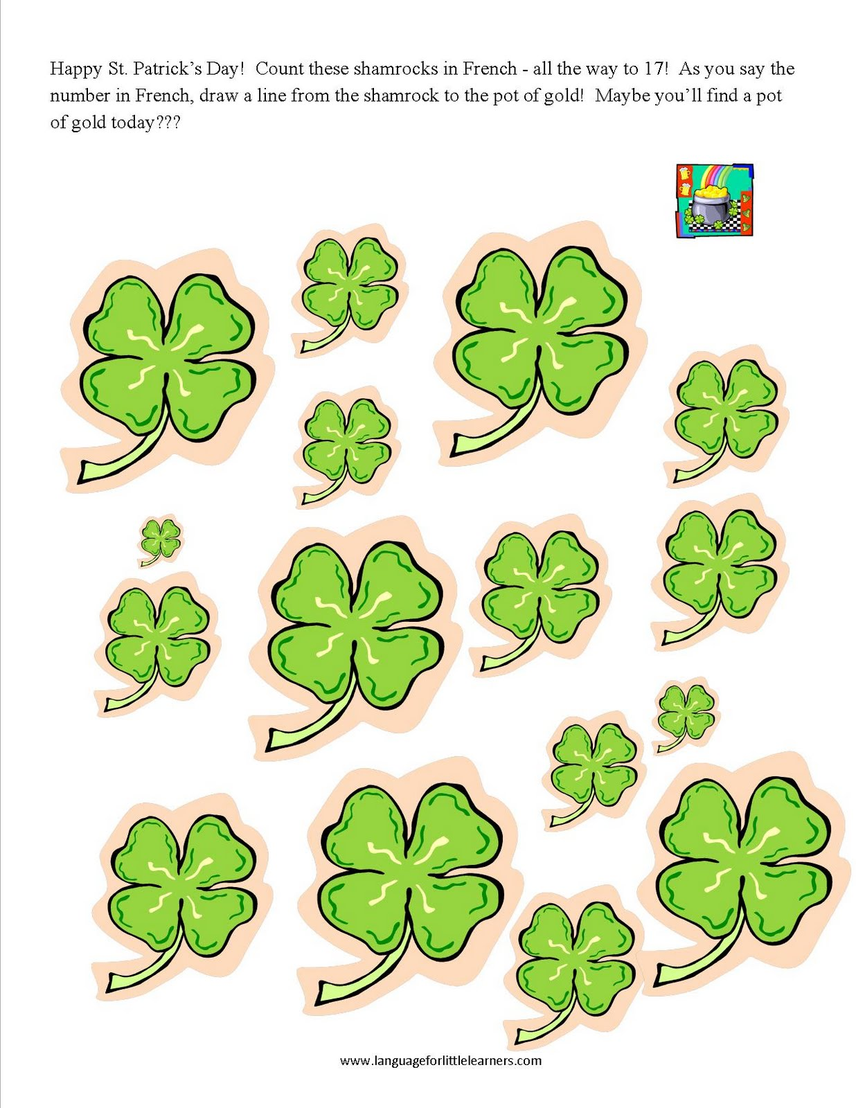 Language For Little Learners St Patrick S Day Worksheet