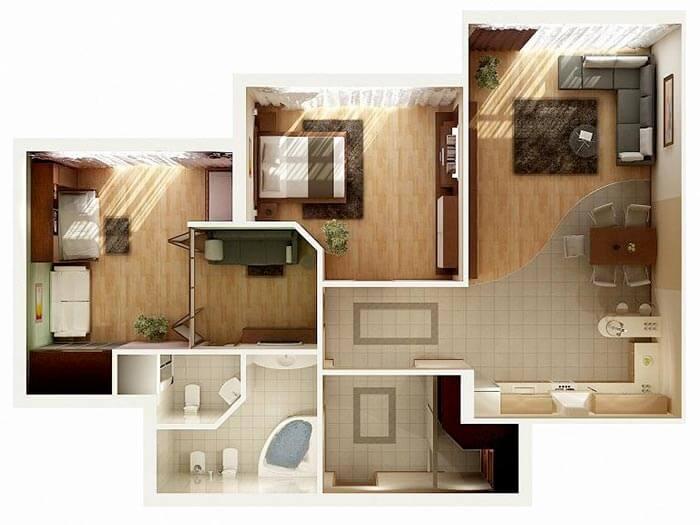 2 yatak daire ev planı