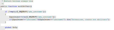 Limitare l'accesso su phpmyadmin ad un utente specifico