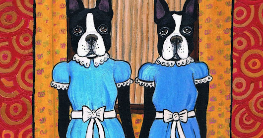 "New Painting: ""Sally and Cupcake"": The Boston Terrier Twins"