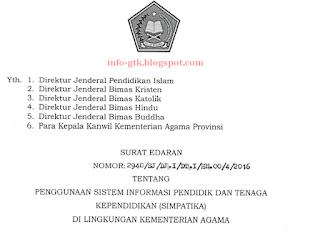edaran dan instruksi dari Setjen Kemenag mengenai kewajiban bagi semua guru madrasah dan guru Agama agar menggunakan Simpatika