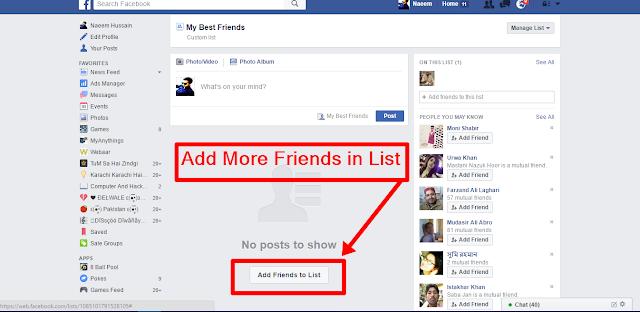 Create Facebook Friends Lists add more