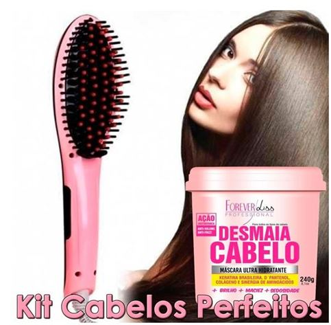 Escova Mágica Alisadora LCD + Creme desmaia cabelo Kit Completo
