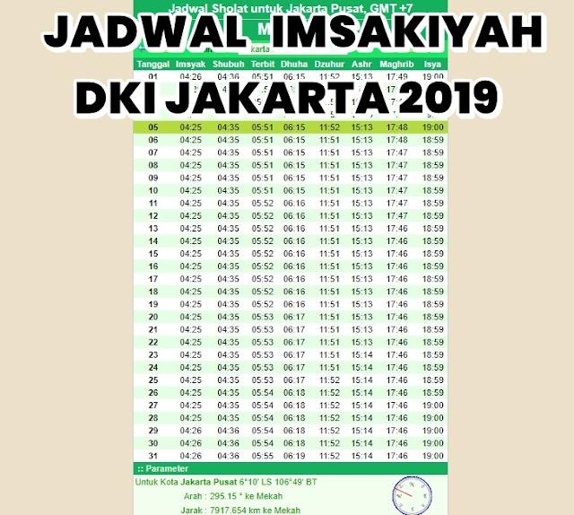 Jadwal Imsakiyah Ramadhan 2019 di Jakarta