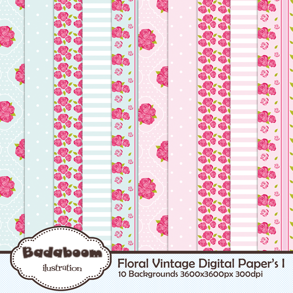 scrapbook, digital, kit, scrap, arte, vintage, floral, background, papers, pattern, rosa, azul, pink, blue, fundo, fundos