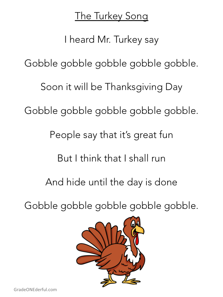 Turkey Poem for First Grade