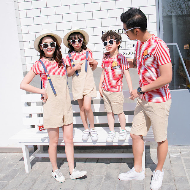 Fashion Stripe Top With Shorts Family Design