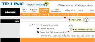 """Menu """"VLAN"""" dan lanjut ke """"Assign VLAN PVID for each Interface"""""""