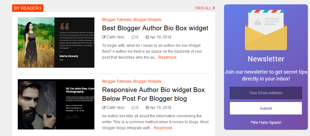 Email Subscribe Widget For Blogger Blog.