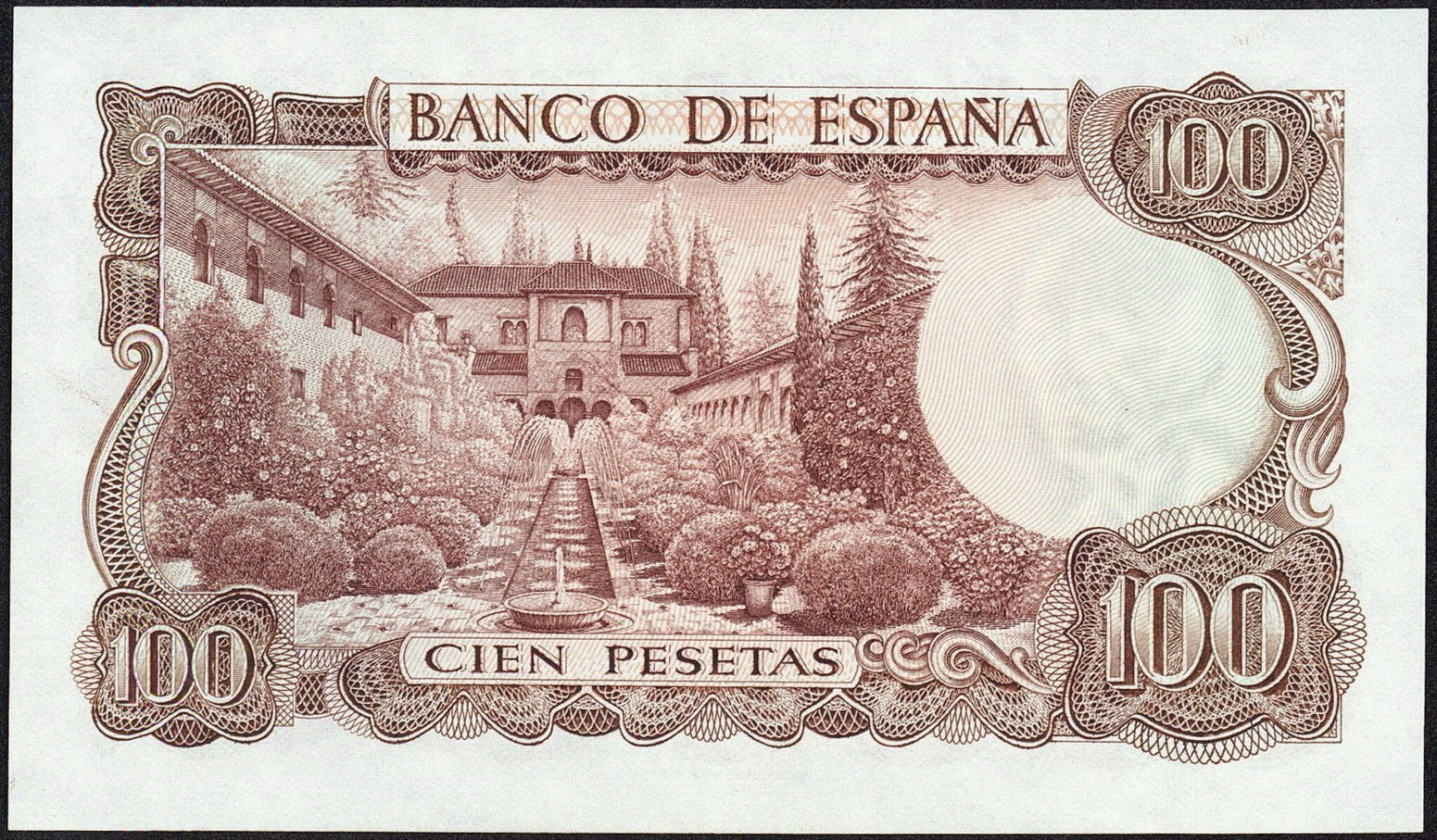 Spain money currency 100 Pesetas banknote 1970 Court of la Acequia, Palacio de Generalife