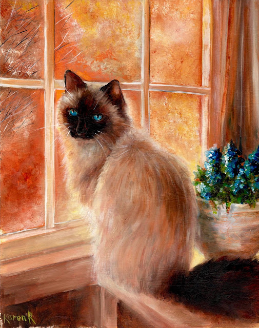 Oil painting of a Birman cat sitting by the window in orange light