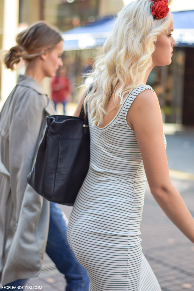How to wear striped dress and flower crown. Street style, ulična moda rujan 2015, Zagreb by peopleandstyles.com