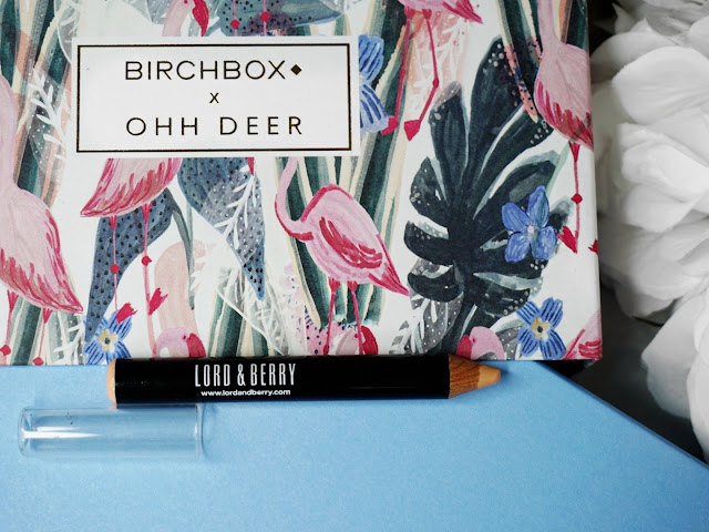ZOOM INLORD & BERRY CONCEALER STICK IN BEIGETHE JANUARY 2018 BIRCHBOX BEAUTY BOX EDIT WITH OHH DEER FLATLAY