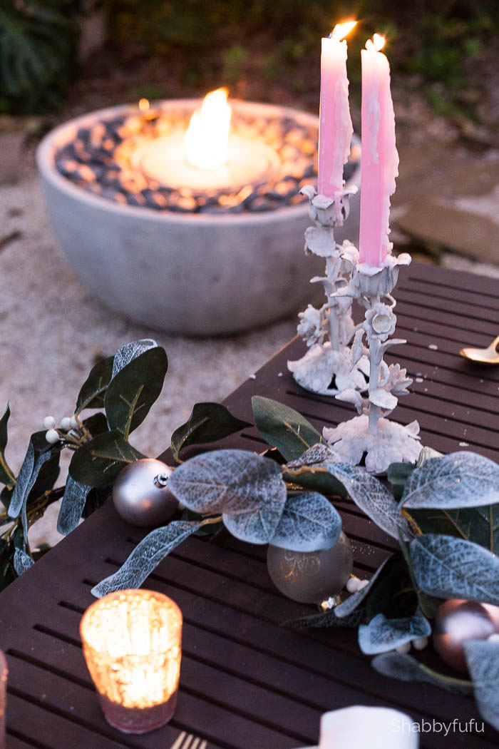 pink dinner tapers firepit christmas