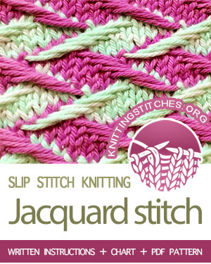 SLIP STITCH KNITTING — #howtoknit the Zig Zag Jacquard stitch (Rick Rack Jacquard stitch). FREE written instructions, Chart, PDF knitting pattern.  #knittingstitches #slipstitchknitting