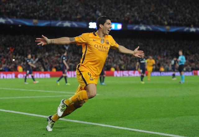 Luis Suarez celebrating his goal against atletico madrid