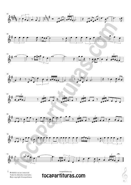 Hoja 2  Partitura de I will follow him en Tonalidad Fácil para Clave de Sol Easy Sheet Music for beginners Treble Clefs instruments