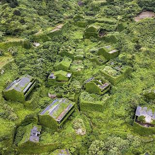Miasto porośnięte bujną roślinnością w Chinach