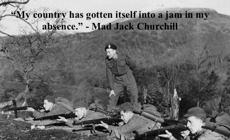 Lieutenant Colonel Churchill, standing behind WWII American sharpshooters, monitoring target hits. Overstreet and Mad Jack and other stories of pilots. marchmatron.com