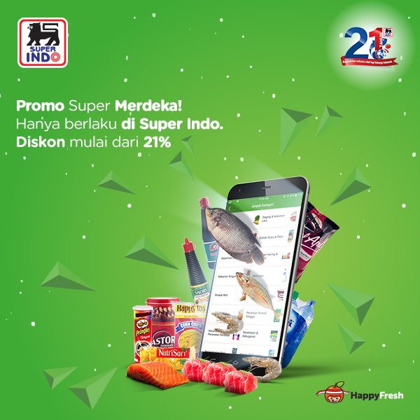 Superindo - Promo Super Merdeka Diskon Mulai 21% Pakai Aplikasi Happy Fresh