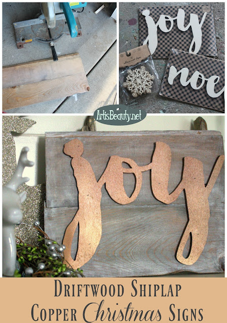 driftwood vintage shiplap copper christmas joy noel signs handmade artsibeauty karin chudy spray paint dry brush