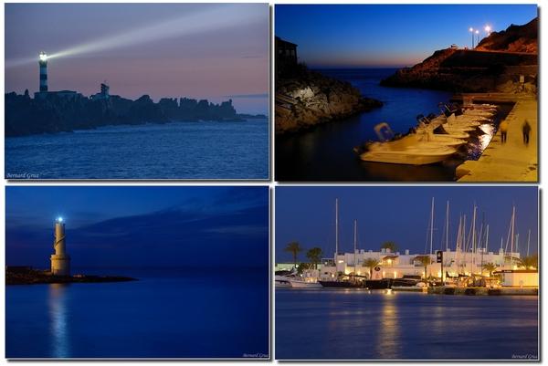 Bernard Grua, heure bleue, phare de Creac'h, Callelongue, phare de Formentera la Savina, port de la Savina